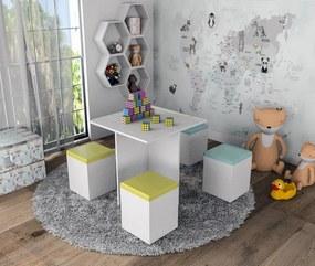 Mesa Infantil 4 Banquetas Appunto Amarelo e Azul