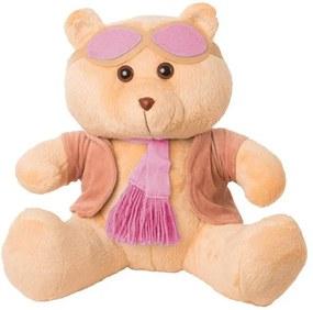 Ursa Soft Mini Aviadora Casaco Plush Cachecol e Óculos Rosa