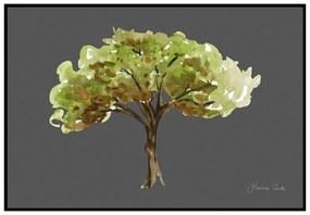 Quadro Decorativo Figurativo Arvores da Vida Corticeira Verde e Cinza - CZ 44114