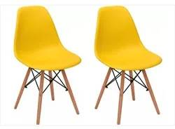 Kit 02 Cadeiras Eiffel Charles Eames F01 Amarela Base de Madeira DSW -