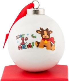 Bola de Cerâmica Meu Mundo Personalizado Meu 1º Natal Branca