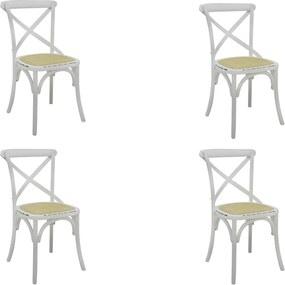Kit 4 Cadeiras Decorativas Sala De Jantar Cozinha Danna Rattan Natural Branca - Gran Belo