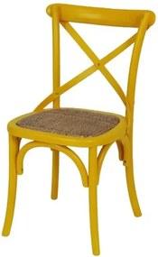 Cadeira Katrina Amarela Laqueada com Assento Rattan  - 30750 Sun House