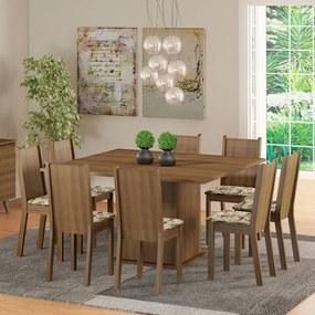 Conjunto Sala de Jantar Madesa Clarice Mesa Tampo de Madeira com 8 Cadeiras Rustic/Lírio Bege Cor:Rustic/Floral Lírio Bege
