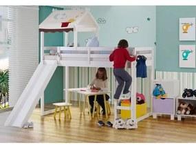Cama Infantil Prime Alta II com Escorregador e Telhado Chaminé Casatema
