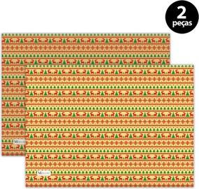 Jogo Americano Mdecore Natal Renas 40x28 cm Amarelo2pçs