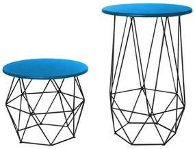 Kit Mesa Lateral + Mesa de Centro Decorativa Eiffel Tampo Azul Aramado Preto
