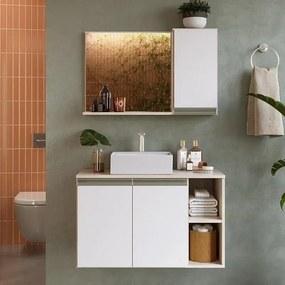 Gabinete Balcão Para Banheiro Galla 80cm Com Espelho E Cuba