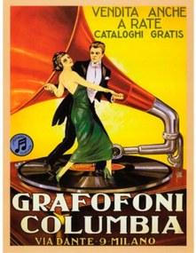 Quadro Poster Grafofoni Columbia Ano 1920 33,2 X 27 Cm