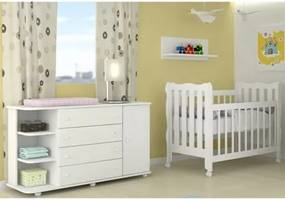 Quarto Infantil Cômoda com Cantoneira Lorena e Berço Mini Cama Lila Branco - Phoenix Baby