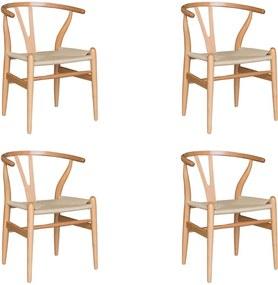 Kit 4 Cadeiras Decorativas Sala de Jantar e Cozinha Bella Madeira Bétula Bege - Gran Belo