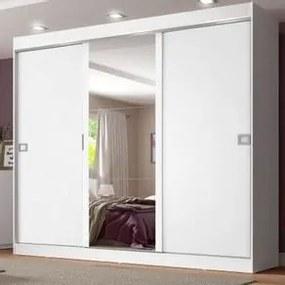 Guarda-Roupa Casal Madesa Napoli 3 Portas de Correr Central com Espelho Branco Cor:Branco