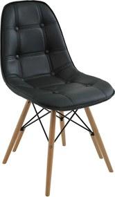 Cadeira Decorativa Sala e Escritório Cadenna (PU) Preta - Gran Belo