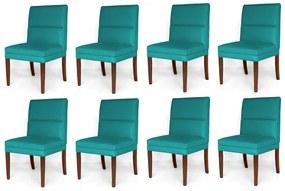 Kit 8 Cadeiras De Jantar Hermione Base Madeira Maciça Estofada Suede Azul Tiffany