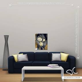 Quadro Flores com Dourado - Pequeno 65cm x 49cm, Tela Canvas