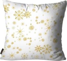 Capa para Almofada Premium Cetim Mdecore Natal Flocos de Neve Branca45x45cm