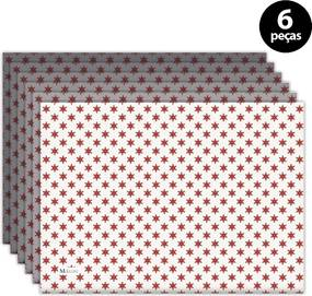 Jogo Americano Mdecore Natal Estrelas 40x28 cm Branco6pçs