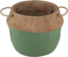 Vaso Cimento Com Alça Verde/Palha 18x15cm 60754 Royal