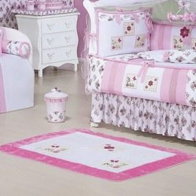 Tapete Para Quarto de Bebê Flower Branco - Rosa