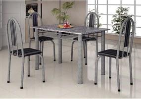 Mesa com 4 cadeiras Íris Martelada, Tampo em Granito - Soma Riscado - Brando