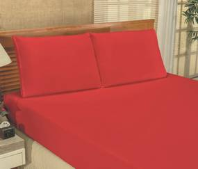 Roupa de Cama Casal Queen Bianca Microfibra 03 Peças - Vermelho