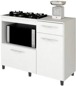 Balcão de Cozinha Cooktop e Forno Microondas Mali Branco - Lumil Móveis