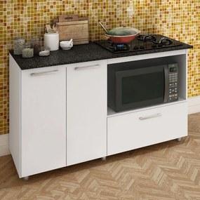 Armário de Cozinha Balcão para Cooktop e Microondas Branco Bl 210 Bc - Completa Móveis