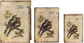 Conjunto com 3 Caixas Livro de Seda 2 Pássaros e Galhos