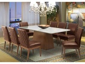 Conjunto Mesa Luana Off White 2,08 m + 8 Cadeiras Luana Couríssimo Facto Whisky