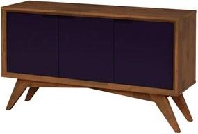 Buffet Serafim 3 Portas Pinhão e Roxo - Wood Prime MP 27632