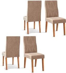 Conjunto 4 Cadeiras Manuela Rústico Terrara Tecido Veludo Kraft