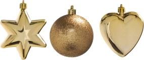 Enfeite Natal Decorativo Estrela Bola E CoraçÁo Dourados 5Cm