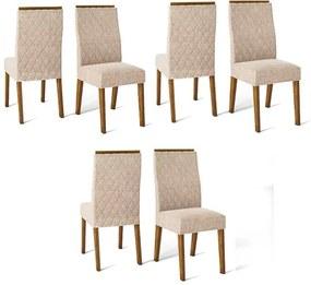 Conjunto 6 Cadeiras Cássia Demolição Tecido Linho Claro