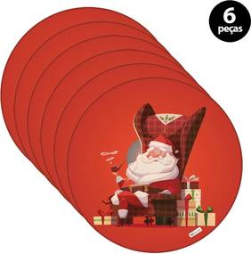 Sousplat Mdecore Natal Feliz Natal 32x32cm Vermelho 6pçs