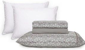Jogo de Lençol Percal Total Mix Clean Neuza + Protetor de Travesseiro Impermeável Basic