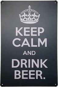 Placa de Metal Decorativa Keep Calm Drink Beer
