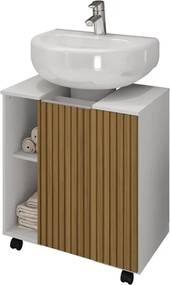 Gabinete Para Banheiro Pequin Branco Ripado – Bechara Móveis