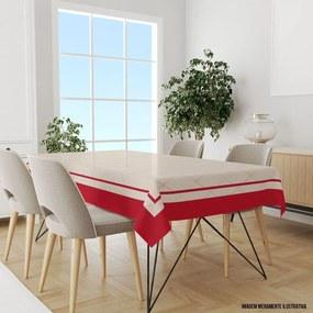 Toalha de Mesa Retangular 10-12 Lugares Geométrico com Borda Vermelha 1.45m x 3.20m Único