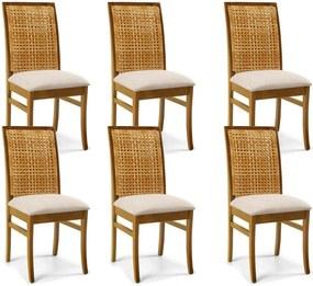 Kit 06 Cadeiras Para Sala de Jantar Cozinha Latina Oregon Linho Rústico Bege - Gran Belo