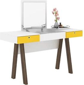 Penteadeira e Escrivaninha Acácia Branco / Amarelo