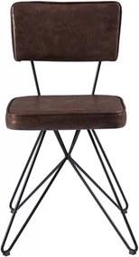 Cadeira Lennox em Couro PU C/Pés Butterfly - Marrom Escuro