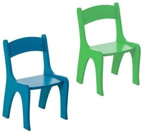 Kit 2 Cadeiras Infantis em MDF - Pintura em Laca Azul/Verde