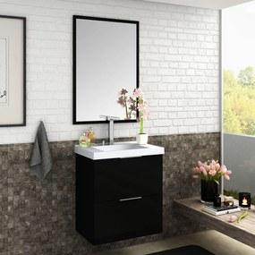 Gabinete Banheiro Suspenso Preto Brilho MDF 60cm Lilies