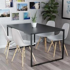 Mesa de Jantar Veneza Industrial Preto com 04 Cadeiras Eiffel Charles Eames Branco - ADJ DECOR