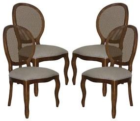 Conjunto 04 Cadeiras de Jantar Medalhão Lisa Sem Braço - Wood Prime 230336 Liso