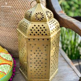Lanterna Indiana Dourada 40cm