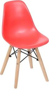 Cadeira Eiffel Infantil Base Madeira - Vermelha