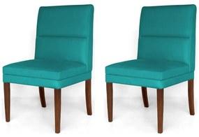 Kit 2 Cadeiras De Jantar Hermione Base Madeira Maciça Estofada Suede Azul Tiffany
