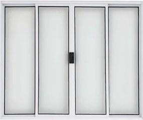 Vitro de Correr de Alumínio 4 Folhas sem Grade 100x120 Branco - 20028 - Esquadriart - Esquadriart