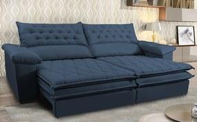 Sofá Retrátil E Reclinável Molas Ensacadas Cama Inbox Botonê 2,52m Espuma Viscoelástico Suede Azul